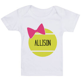Tennis Baby T-Shirt - Personalized Tennis Ball Bow