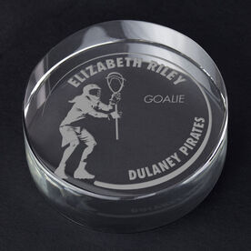Girls Lacrosse Personalized Engraved Crystal Gift - Customized Goalie