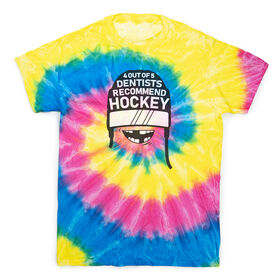 Hockey Short Sleeve T-Shirt - 4 Out of 5 Dentist Recommend Hockey Tie Dye
