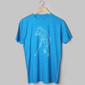 Field Hockey Short Sleeve T-Shirt - Field Hockey Player Sketch