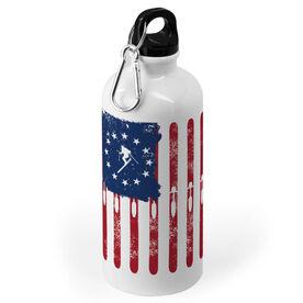 Skiing 20 oz. Stainless Steel Water Bottle - American Skiier Flag
