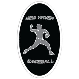 Baseball Oval Car Magnet Personalized Pitcher