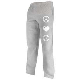 Peace Love Basketball (Symbols) Fleece Sweatpants