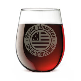 Personalized Stemless Wine Glass - Proud American