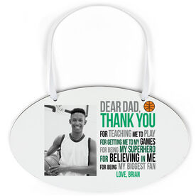 Basketball Oval Sign - Dear Dad With Photo