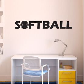 Softball With Ball Removable ChalkTalkGraphix Wall Decal