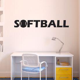 Softball With Ball Removable ChalkTalkGraphix Wall Decal