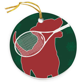 Tennis Porcelain Ornament Dog With Racket