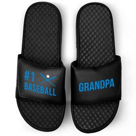 Baseball Black Slide Sandals - #1 Baseball Grandpa