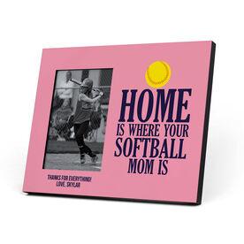 Softball Photo Frame - Home Is Where Your Softball Mom Is