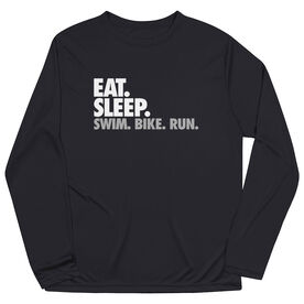 Triathlon Long Sleeve Performance Tee - Eat. Sleep. Swim. Bike. Run.