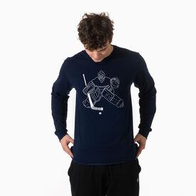 Hockey Tshirt Long Sleeve - Hockey Goalie Sketch