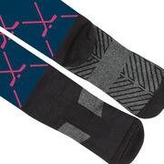 Hockey Printed Knee-High Socks - Hockey Stick Pattern
