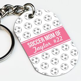 Soccer Printed Dog Tag Keychain Personalized Soccer Mom Of