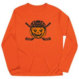 Hockey Long Sleeve Performance Tee - Helmet Pumpkin
