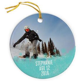 Skiing & Snowboarding Porcelain Ornament - Your Photo