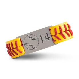 Authentic Softball Leather Bracelet With Slider - Custom Number