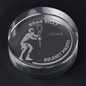Guys Lacrosse Personalized Engraved Crystal Gift - Customized Goalie
