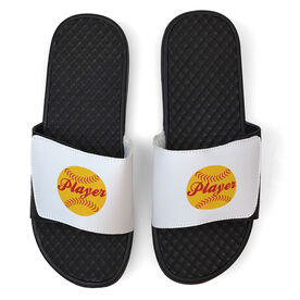 Softball White Slide Sandals - Softball Player