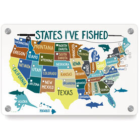 Fly Fishing Metal Wall Art Panel - States I've Fished (Dry Erase)