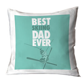Skiing Throw Pillow Best Dad Ever