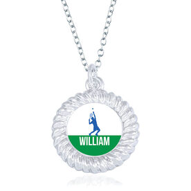 Tennis Braided Circle Necklace - Male Player Silhouette With Name