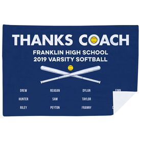 Softball Premium Blanket - Thanks Coach (Horizontal)