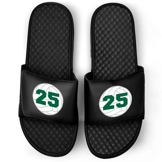 Volleyball Black Slide Sandals - Volleyball with Number
