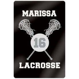 "Girls Lacrosse 18"" X 12"" Aluminum Room Sign - Personalized Lacrosse Ball And Sticks"