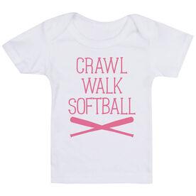 Softball Baby T-Shirt - Crawl Walk Softball