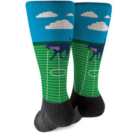 Girls Lacrosse Printed Mid-Calf Socks - Lula The Lax Dog