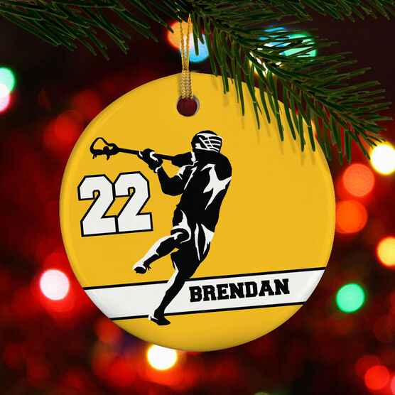 Guys Lacrosse Porcelain Ornament Personalized Jump Shot Silhouette