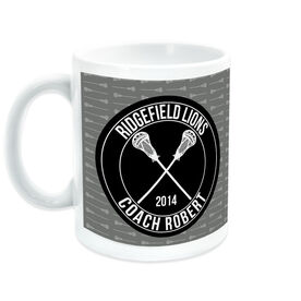 Guys Lacrosse Coffee Mug Personalized Coach with Crossed Sticks