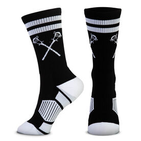 Guys Lacrosse Woven Mid-Calf Socks - Retro Crossed Sticks (Black/White)