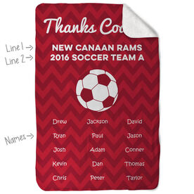 Soccer Sherpa Fleece Blanket Personalized Thanks Coach Chevron