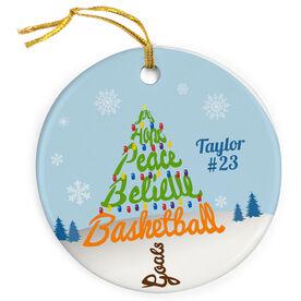Basketball Porcelain Ornament Joy Hope Peace Believe