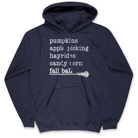 Girls Lacrosse Hooded Sweatshirt - Favorite Fall Things