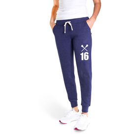 Girls Lacrosse Women's Joggers - Crossed Sticks With Number