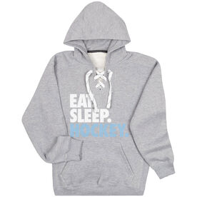 Hockey Sport Lace Sweatshirt Eat. Sleep. Hockey.
