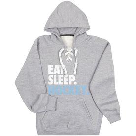 Hockey Sport Lace Sweatshirt Eat. Sleep. Hockey.