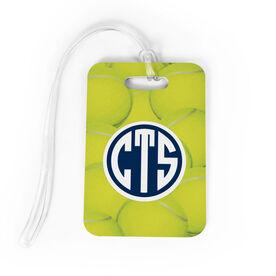 Tennis Bag/Luggage Tag - Monogrammed Tennis Ball Background
