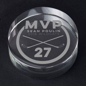 Hockey Personalized Engraved Crystal Puck - MVP Award