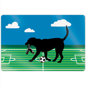 """Soccer 18"""" X 12"""" Aluminum Room Sign - Sammy The Soccer Dog"""