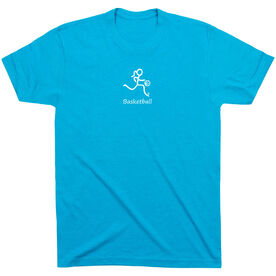 Basketball Tshirt Short Sleeve Basketball Girl White Stick Figure with Word
