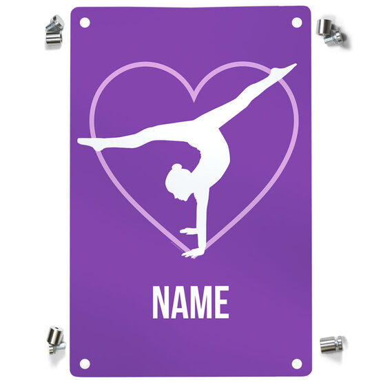 Gymnastics Metal Wall Art Panel - Personalized Heart