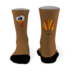 Printed Mid Calf Socks Goofy Turkey