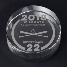 Baseball Personalized Engraved Crystal Gift - Custom Team Award