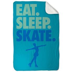 Figure Skating Sherpa Fleece Blanket - Eat. Sleep. Skate. Vertical