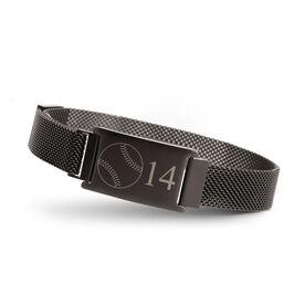 Softball Adjustable Stainless Steel Magnetic Bracelet - Custom Number