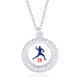 Baseball Braided Circle Necklace - Pitcher Silhouette With Number